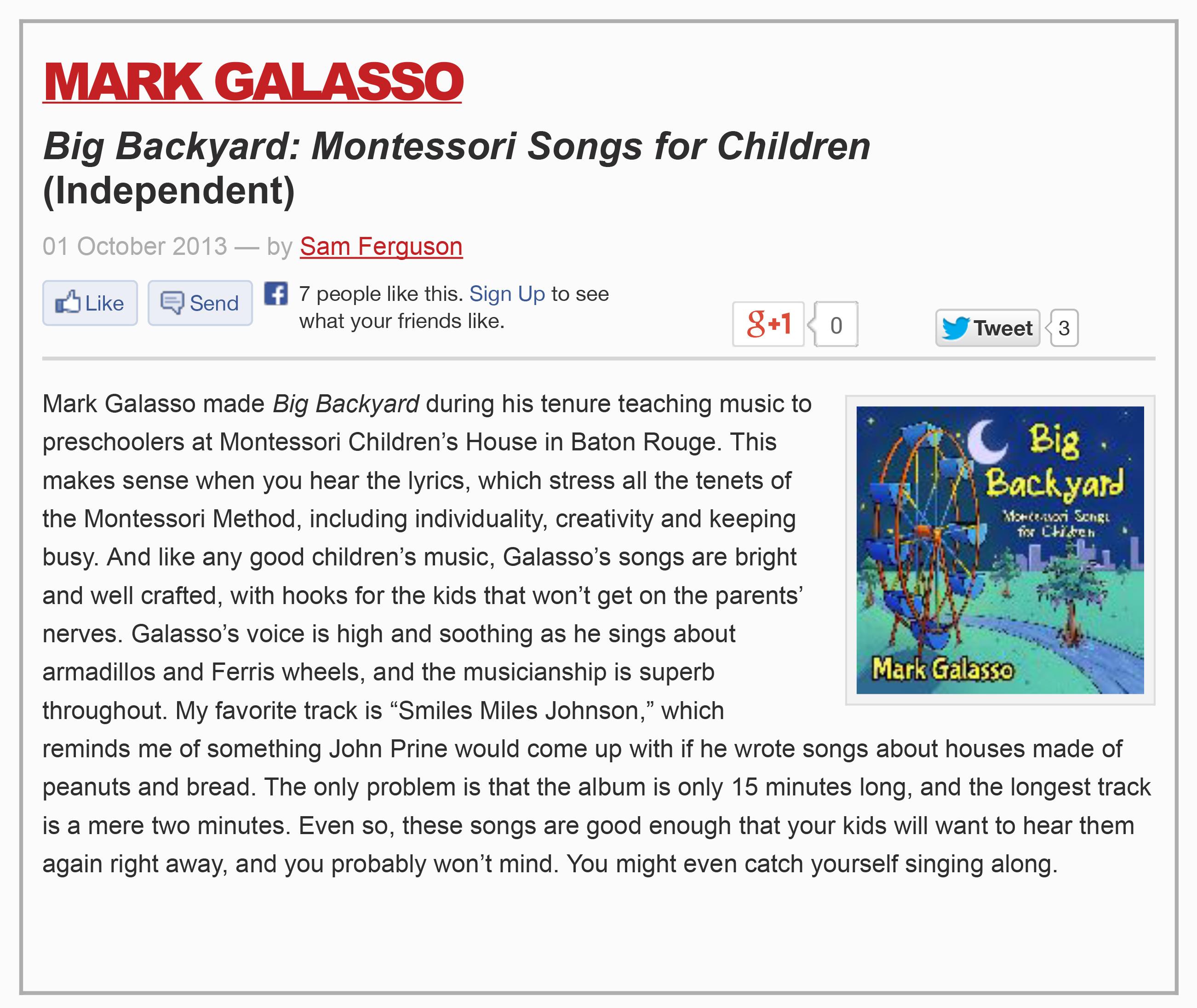 Mark Galasso Big Backyard Montessori Songs for Children (Album Review)-1